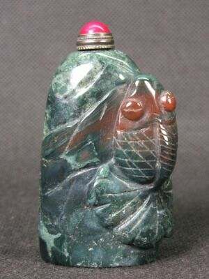Chinese Goldfish Handwork Carved Natural Green Moss Agate Snuff Bottle