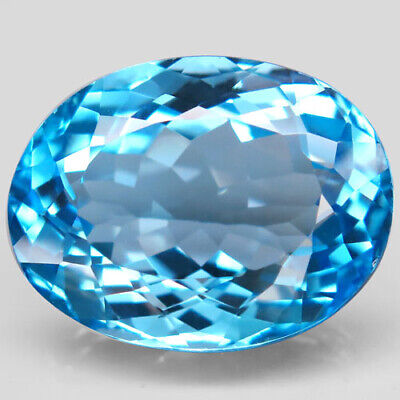 36.77ct.Top Sky Blue Topaz 100%Natural (Brazil) Oval Facet 22x17mm.AAA BIG Nr!.