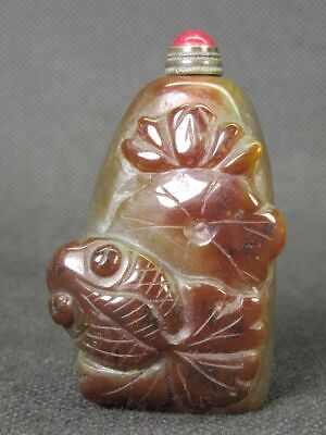 Chinese Goldfish Handwork Carved Natural Brown Agate Snuff Bottle
