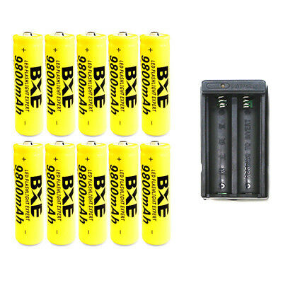 10pc 18650 Battery 9800mAh Li-ion 3.7V Rechargeable Batteries Cell +Dual Charger