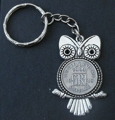 1948 71st birthday lucky Sixpence Owl key ring Charm wedding present + gift box