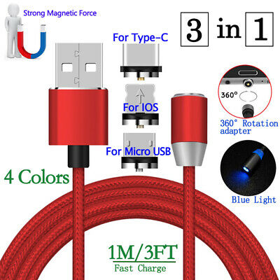 360° Round Magnetic Micro USB/Type-C Fast Charging Charger Cable Cord For iPhone