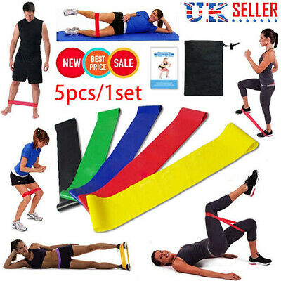 Resistance Bands Loop Set Exercise Sports Fitness Home Gym Yoga Latex Set of5 UK