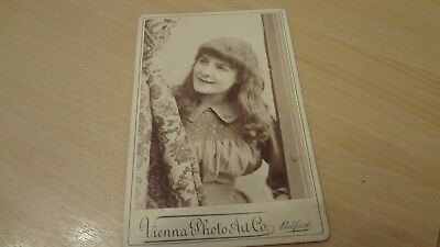C 1890's Victorian Cabinet Photograph. Very Pretty Young Lady Photo