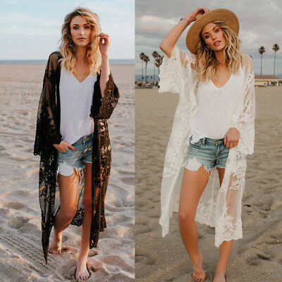 Fashion Women Casual Solid Lace Coat Bohemian Beach Long Oversized Kimono Blouse