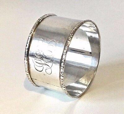 Antique Solid Sterling Silver 1906 Fancy Nouveau Engraved Napkin Ring - 23g