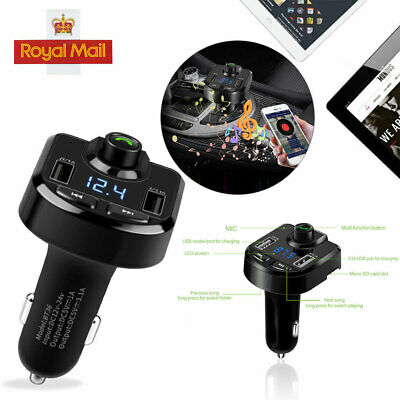 Bluetooth Wireless LCD Car MP3 FM Transmitter Radio USB Charger Handsfree Kit UK