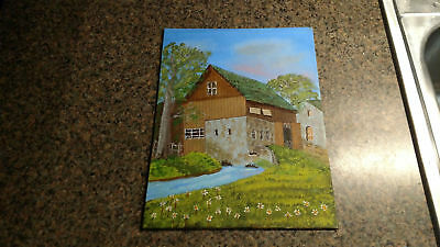 Painting Oil Art Rural Cabin Woods House Mountains Stream Lake Vintage