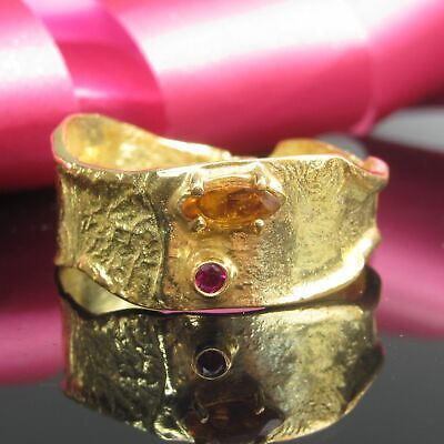 Rubin Songea Saphir Silber 925 Sterling Ring Gr.62 Silberring Damen Gold 999