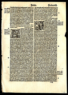 Chapters 12-15 from Book of Joshua 1519 Latin Bible Leaf 4 Historiated Letters