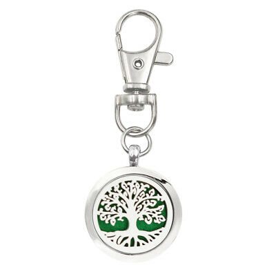 1PC Tree of life Aroma Essential Oil Diffuser Locket Pendant With Keychain 5Pad