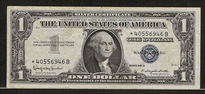 US SILVER CERTIFICATE STAR NOTE 1 dollar Series 1957B VF