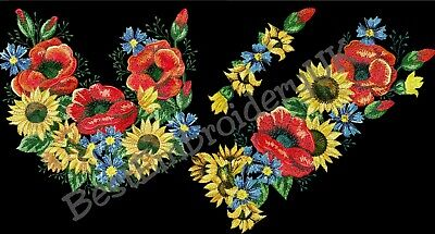 MACHINE EMBROIDERY DESIGNS - POPPY SUNFLOWER EMBROIDERY - DRESS Embroidery