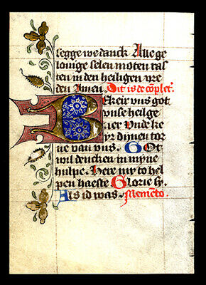 1475 Illuminated Dutch Book of Hours Leaf Large Gold Initial Medieval Utrech