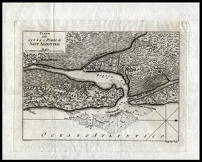 1763 Scarce & Detailed Map of the Port and Harbor of St. Augustine Ft Piccolo