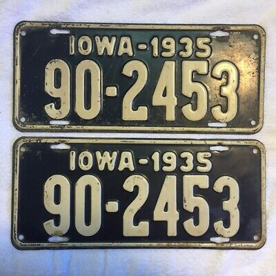 1935 Wapello County Iowa Automobile License Plate Pair,  Number 90-2453