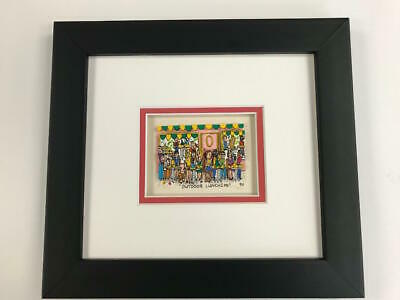 "James Rizzi 3-D "" Outdoor Luncheon "" Signed & Numbered 1990 Mini Framed"
