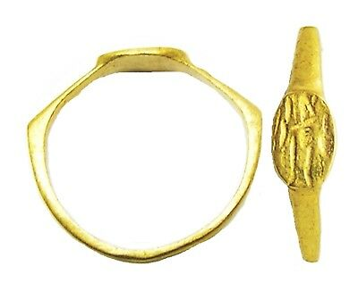 Nice 3rd century A.D. Ancient Roman Gold Signet Ring of Sol Invictus Size 7 1/2