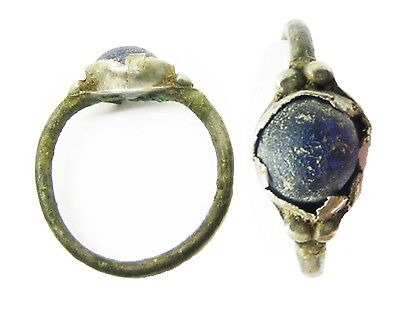 2nd - 3rd century AD Ancient Roman Silver Finger Ring Blue Glass Gem Size 6 3/4