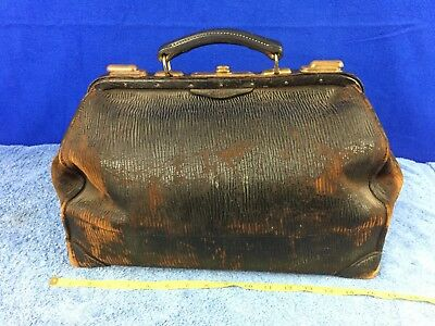 Antique Walrus ? Leather Dr Doctor's Bag Travel Medical Bag Medicine
