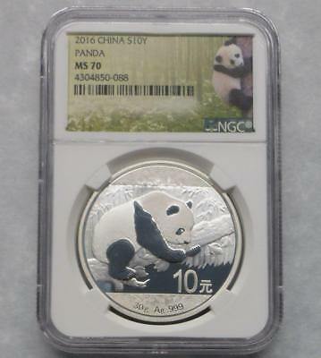 2016 NGC MS70 China 10 Yuan Silver Coin, 30g .999 Fine Silver 10Y Coin
