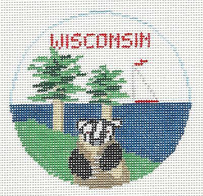 SP.ORDER ~ WISCONSIN Badger State HP Needlepoint Canvas Orna. Kathy Schenkel RD.