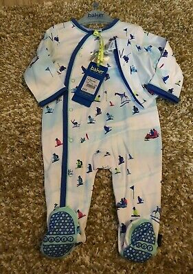 Ted Baker Baby Boys Sleepsuit Babygrow With Hat Set Size 3-6 Months Skiing Print