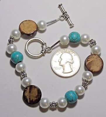 Ankle Bracelet, Glass Pearls/Turquoise Beads, Coconut Disks, Toggle Clasp, 9.75""