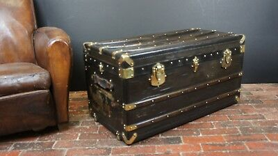 Beautiful Black & Brass Antique Steamer Trunk Key and Trays