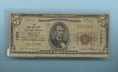 Five Dollar National Currency Banknote 1929 Nice E001198A Albany Ny  1262