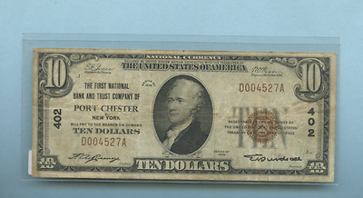 Ten Dollar National Currency Banknote 1929 Nice Ad004527A Portchester Ny 402