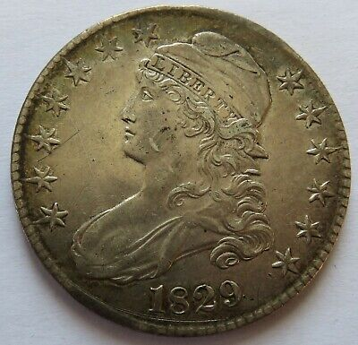 1829 Capped Bust Half Dollar, Vintage Early Date Silver 50C Coin (161800L)
