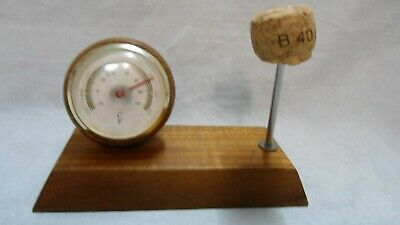 Vintage Novelty Desktop Thermometer, Polished Wood, Fahrenheit and Celsius