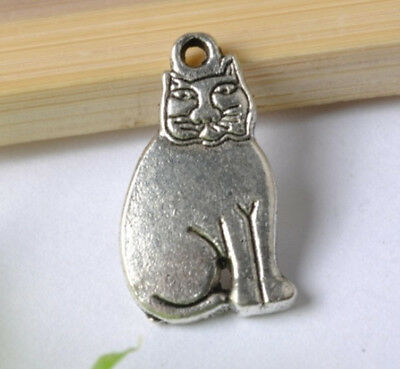 FREE SHIP 10pcs Tibetan Silver lucky cat pendants 19mm SH156