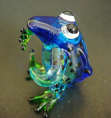 Glass FROG TOAD Blue Black Spotted Painted Glass Animal Blown Glass Ornament