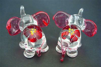 2 Tiny Glass ELEPHANTS Red Painted Glass Animals Decorative Glass Ornaments Gift