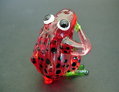 Glass FROG TOAD Red & Black Spotted Glass Animal Ornament Glass Figure Ornament