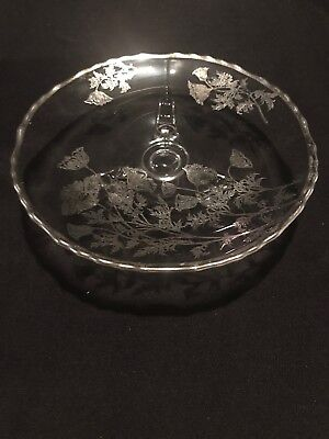 """Beautiful Vintage  7""""  3- Footed Glass Dish with Inlaid Silver Flowers"""
