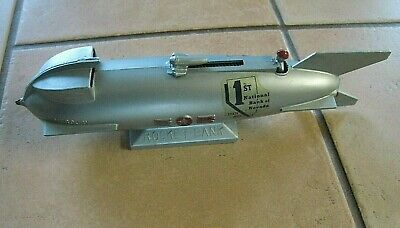 Rare 1950s MERCURY ROCKET Space Program Mechanical Bank 1ST NATIONAL BANK NEVADA