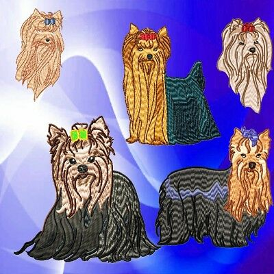 Realistic Yorkshire Terrier 10 Machine Embroidery Designs 2 Sizes
