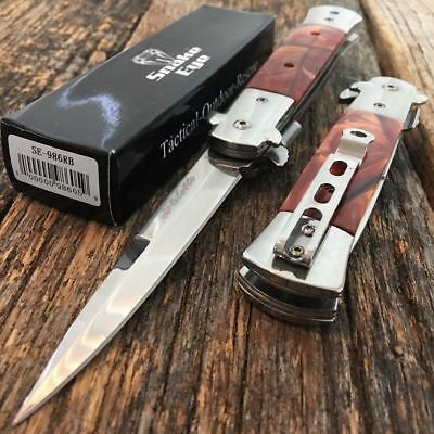 Swirl Pearl Italian Milano Stiletto Tactical Spring Assisted Open Pocket Knife S