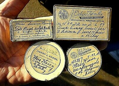 Cool Lot 4 1909 Pharmacy Pill Boxes Mahanoy City Pa Mrs. Charles Kaier Estate