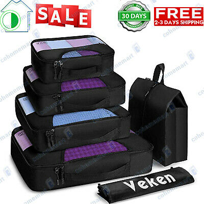 6 Set Packing Cubes, Travel Luggage Organizers with Laundry Bag & Shoe Bag