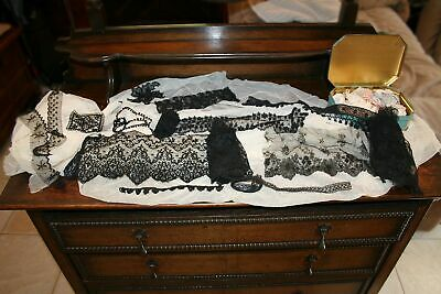 VARIETY ANTIQUE VICTORIAN LACE LOT BLACK CHANTILLY NETTING TIN of TRIM BEADs