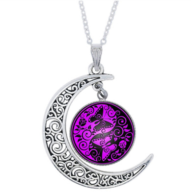 Yin Yang Butterfly Photo Tibet Silver Glass Crescent Moon Necklace