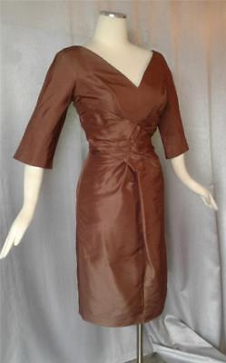 Lee Claire Vintage 1950s PLUNGING FITTED Silk Satin Ruched WIGGLE PARTY DRESS