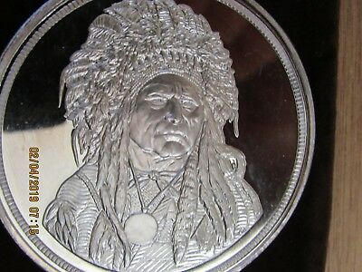 5 Oz Silver Round .999 Fine $50 Running Antelope The Silver Chief + Pouch