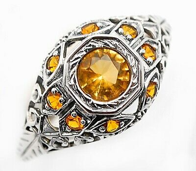 1CT Citrine 925 Solid Sterling Silver Ring Art Deco Filigree Jewelry Sz 8