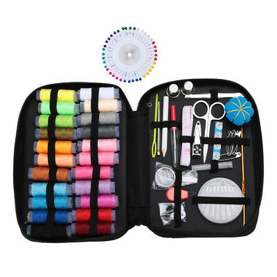 126PCS Sewing Kit Measure Scissor Thimble Thread Needle Storage Box Travel Set