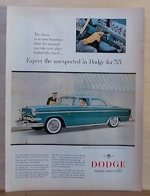 1955 magazine ad for Dodge - green Custom Royal Sedan, instrument panel photos